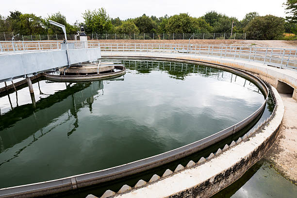 water treatment system The Solid Contact Clarifier Tank in Water Treatment plant. Modern urban wastewater treatment plant. sewage treatment plant stock pictures, royalty-free photos & images