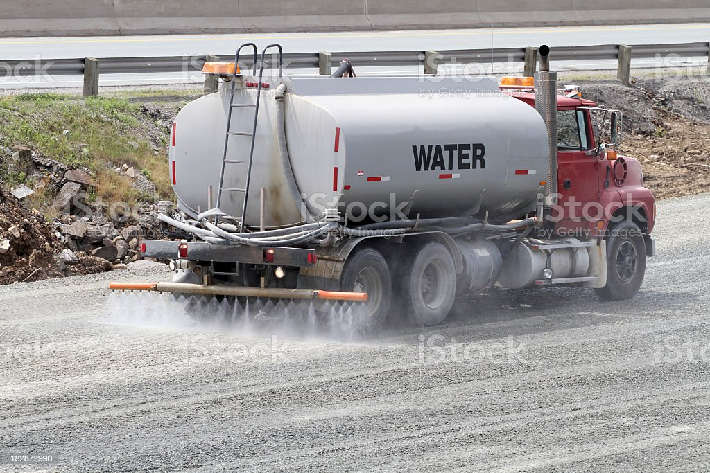 A water truck spreading water on asphalt royalty-free stock photo