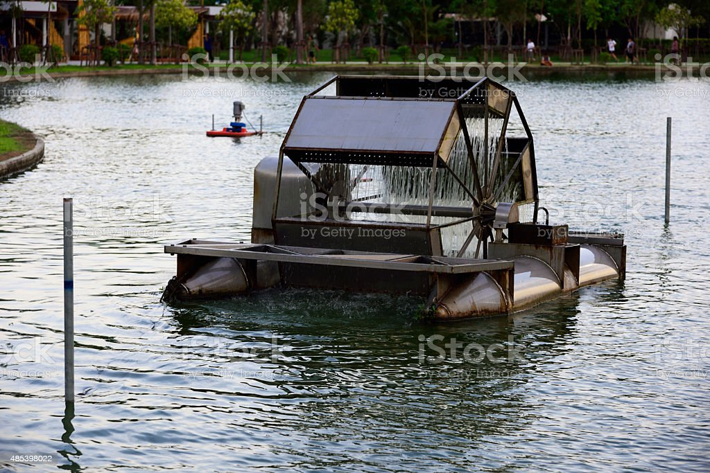 water turbine aeration  for  cleansing stock photo