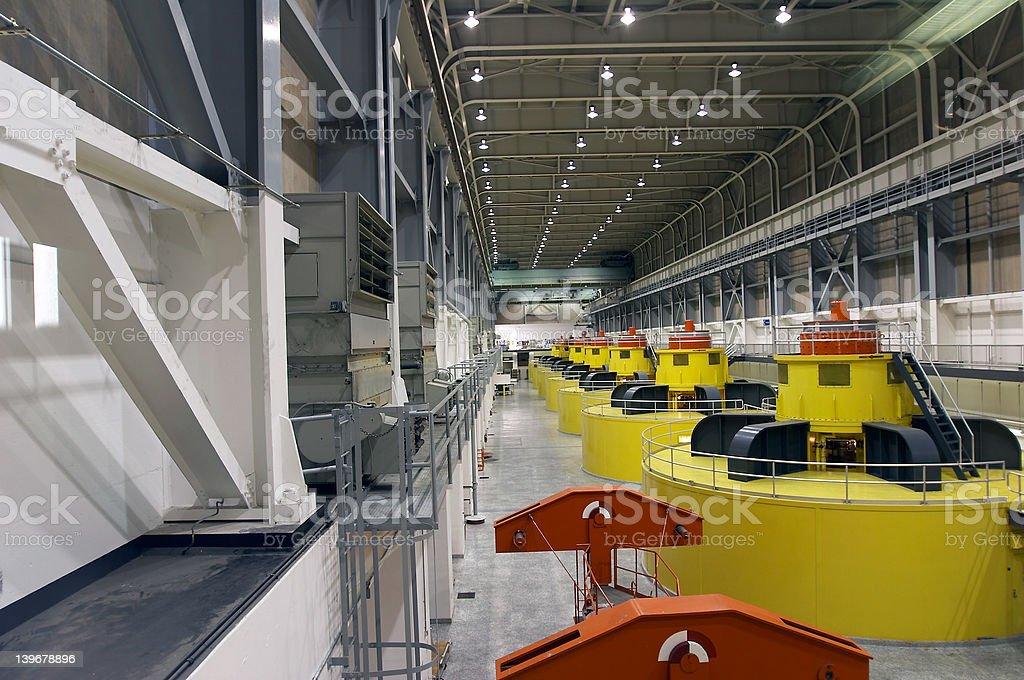 Water turbines and generators stock photo
