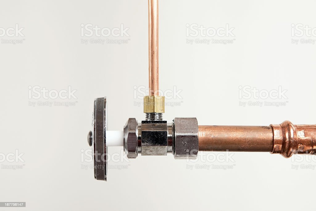 Water Valve with Copper Pipe stock photo