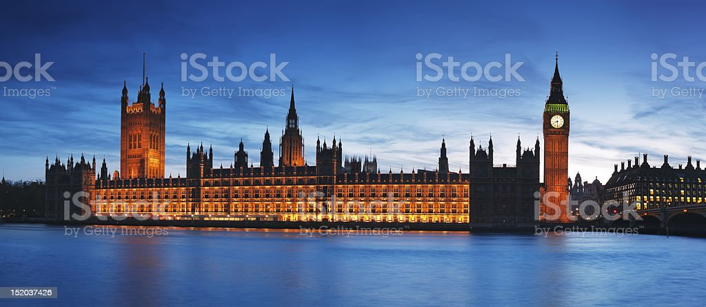 Water view of London's House of Parliament at dusk royalty-free stock photo