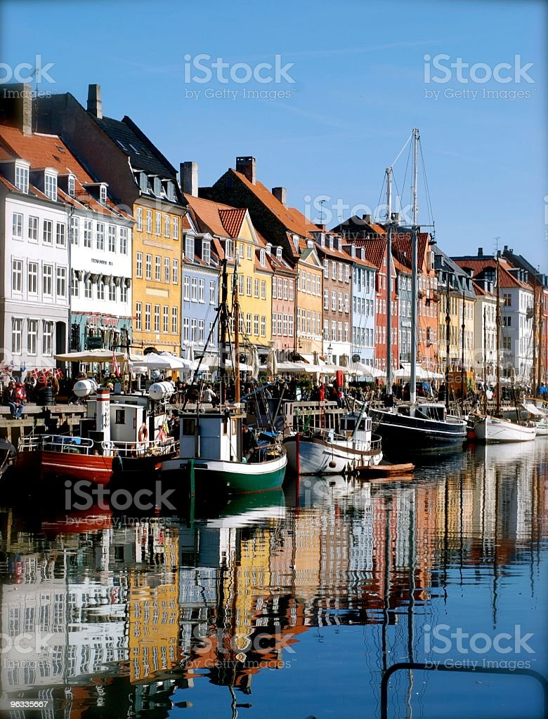 Water view of Nyhavn, Copenhagen, Denmark on a sunny day royalty-free stock photo