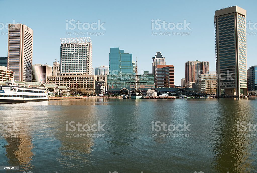 Water view of the Baltimore skyline under a clear blue sky royalty-free stock photo