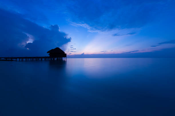 Water Villa at Dawn stock photo