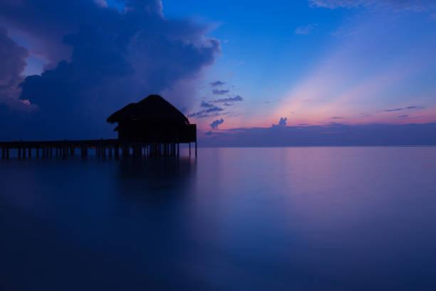 Water Villa Silhouette stock photo