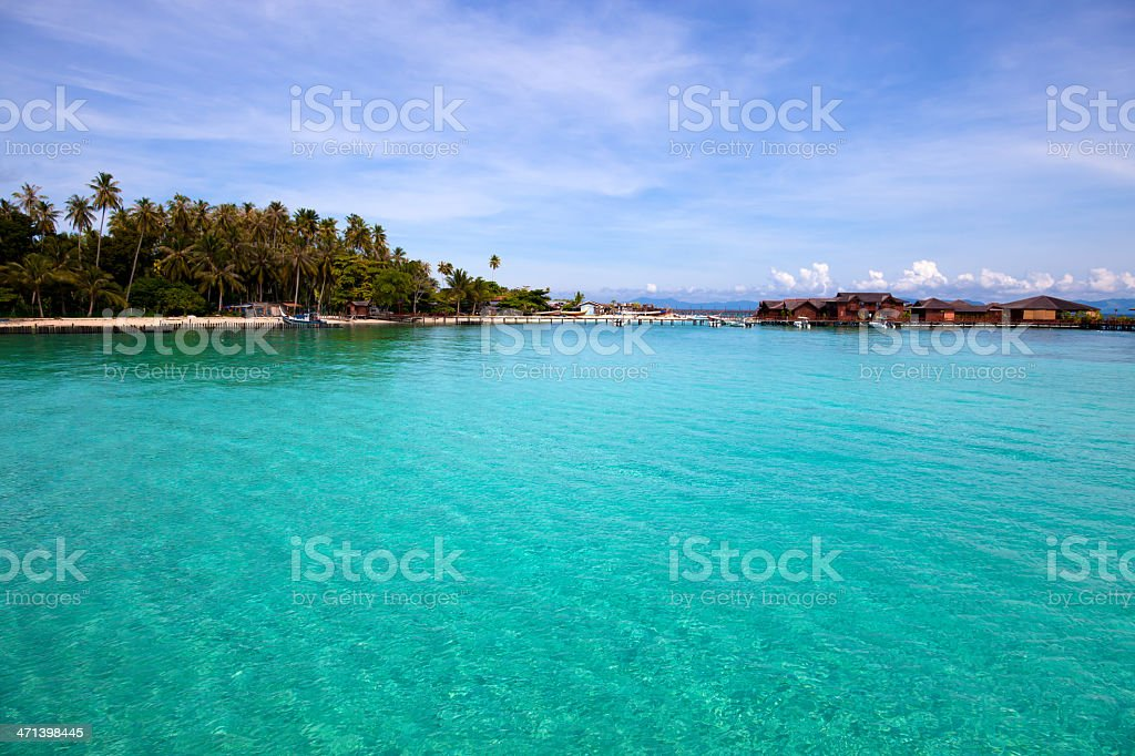 Water village, Borneo Malaysia stock photo