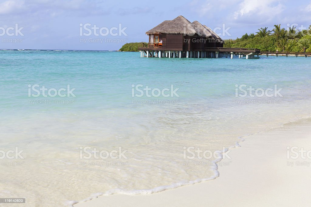 Water Villas in the Ocean. Welcome to Paradise! royalty-free stock photo
