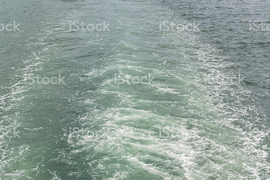 Water wake of cruise liner stock photo