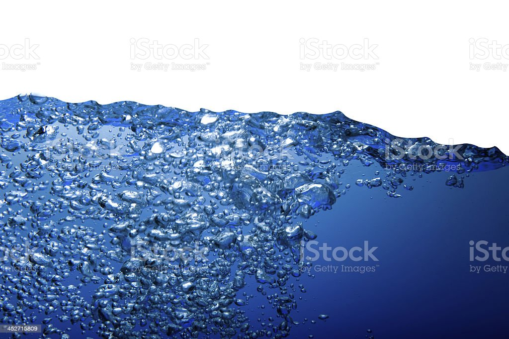 Water wave with bubbles isolated on white royalty-free stock photo