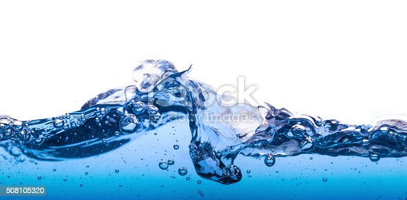 Wave water surface with splash and bubbles of air, isolated on the white background.