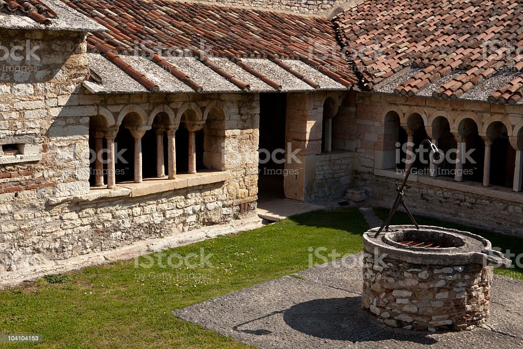 Water Well and Cloister, San Giorgio di Valpolicella royalty-free stock photo