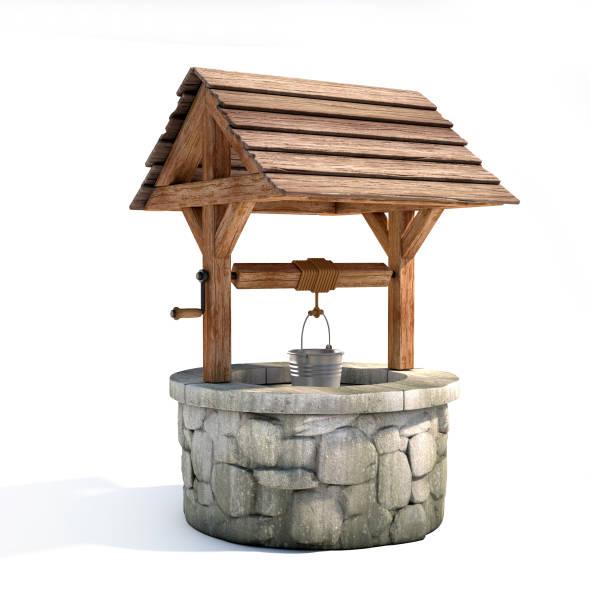 Wasser gut auf einem weißen Hintergrund 3D-Rendering – Foto