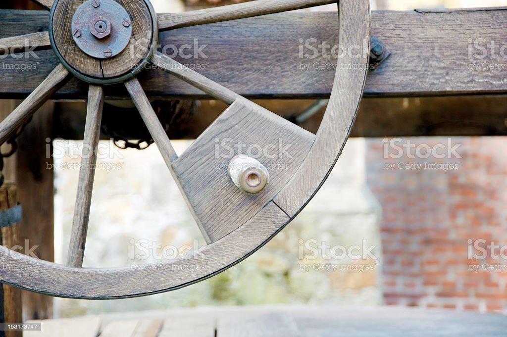 Water well's wheel stock photo