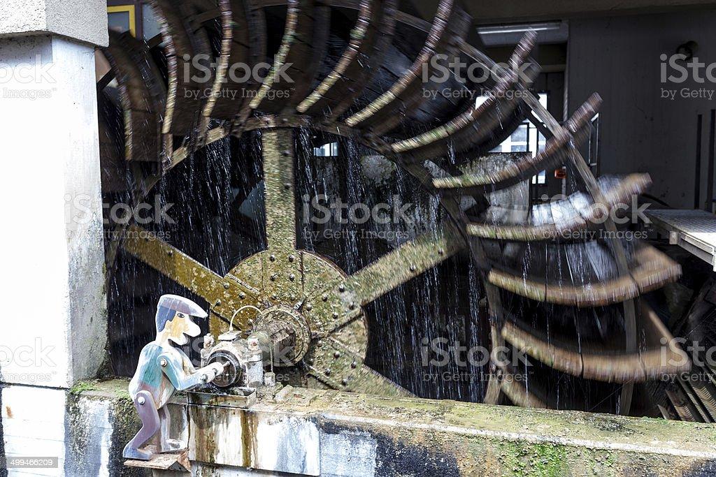 Water wheel in Esslingen stock photo