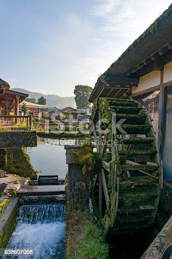 istock Water wheel in Japanese historic Oshino Hakkai village. Japan 638607058