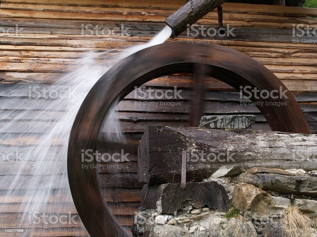 water wheel of a watermill in South Tyrol stock photo