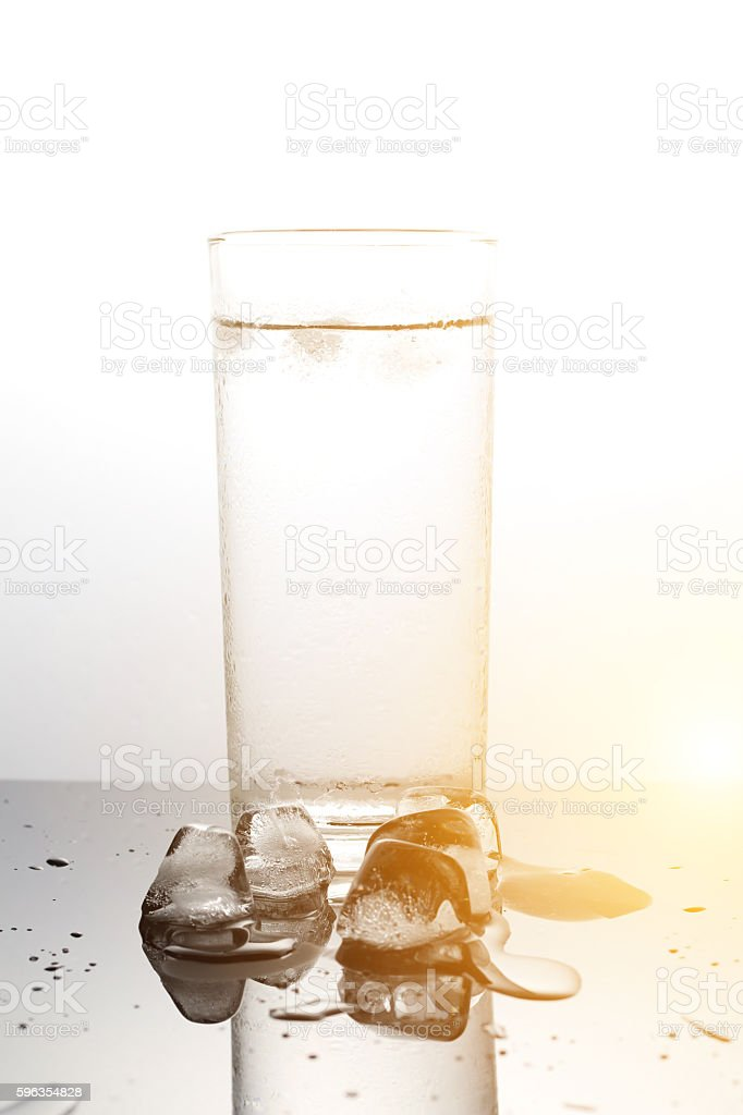 water with ice cubes in a glass royalty-free stock photo