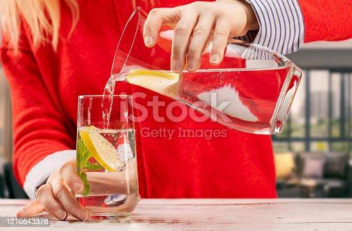 Water, Soda, Lemon - Fruit, Drinking, Women