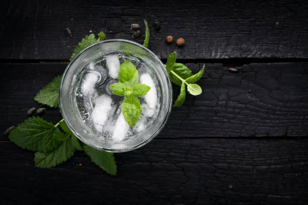 eau de menthe et de la glace en verre - boisson rafraîchissante photos et images de collection