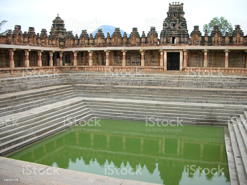 Waterbody in a Centuries-old Temple Premises royalty-free stock photo