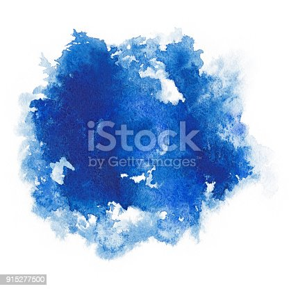 istock Watercolor. Abstract blue spot on white watercolor paper. 915277500
