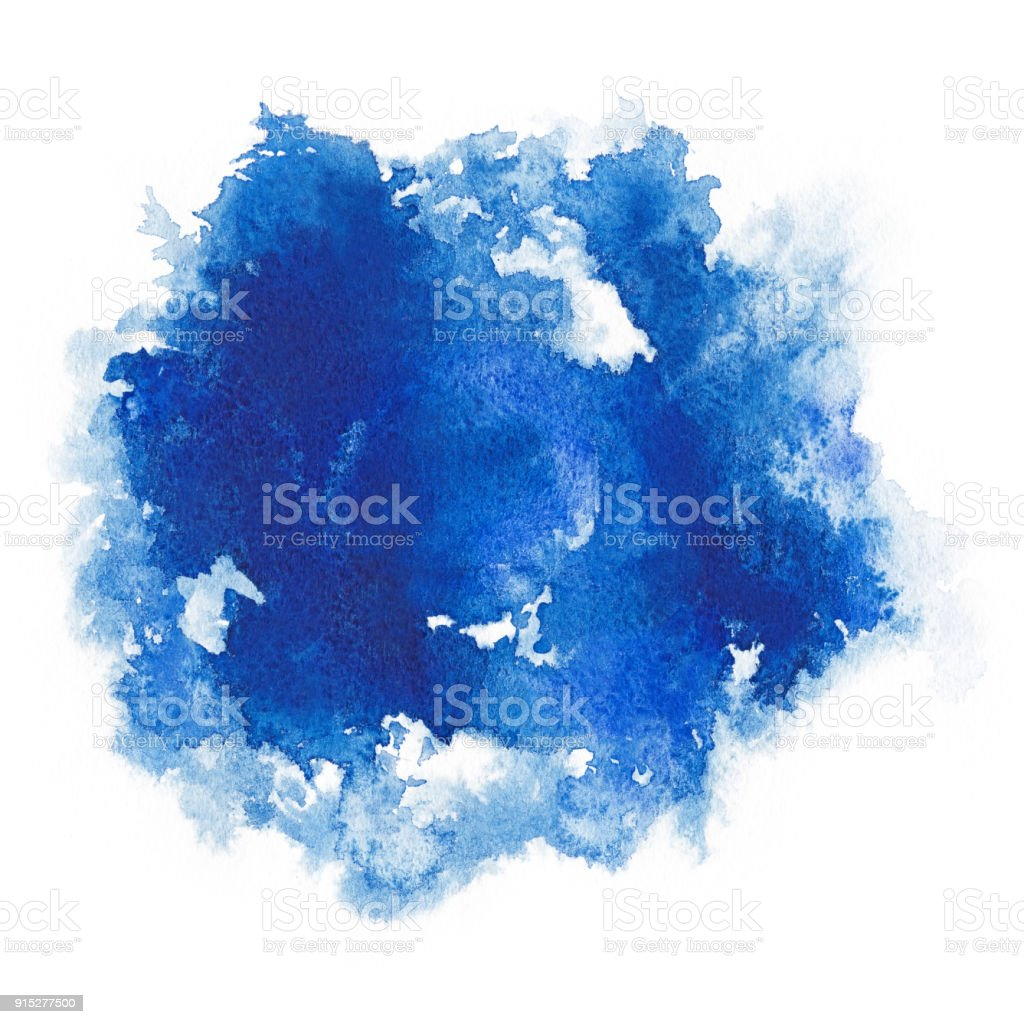 Watercolor. Abstract blue spot on white watercolor paper. stock photo