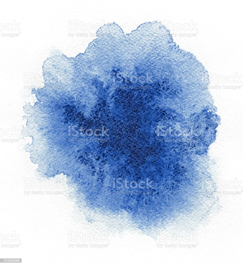 Watercolor. Abstract blue spot on white watercolor paper. royalty-free stock photo