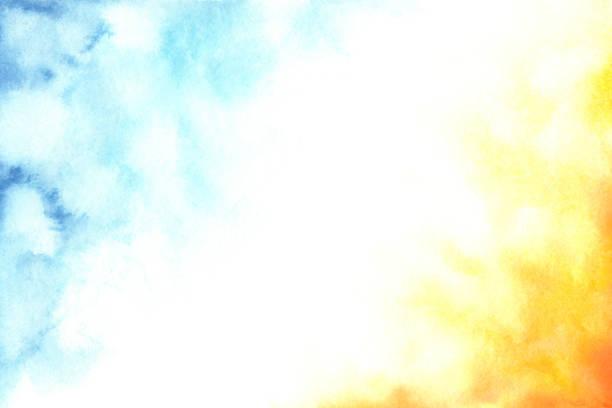 akvarell abstrakt blå, vit och orange tonad bakgrund - blue yellow bildbanksfoton och bilder
