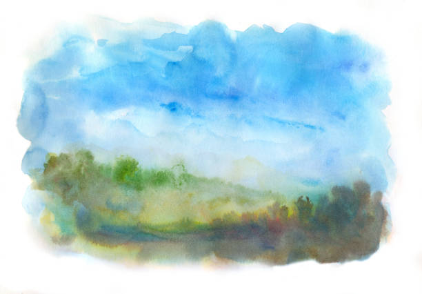 aquarell abstrakte landschaft - farbfeldmalerei stock-fotos und bilder