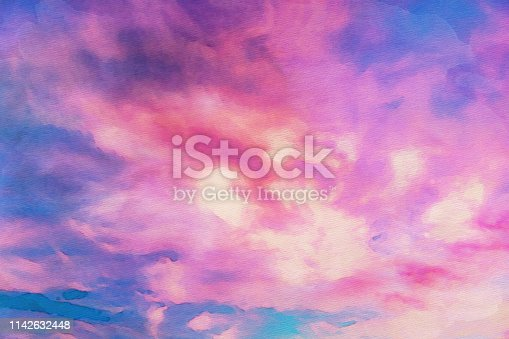 852187968 istock photo Watercolor abstract painting of sunset sky with pink and blue. 1142632448