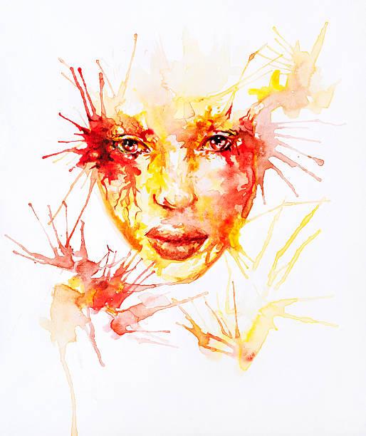 Watercolor abstract portrait – Foto