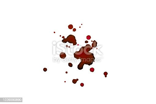 535193210 istock photo Watercolor abstract red blob isolate. Drops of blood on the paper. Red spots on a white background. 1226590890