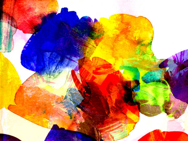 watercolor and gouache textures background stock photo