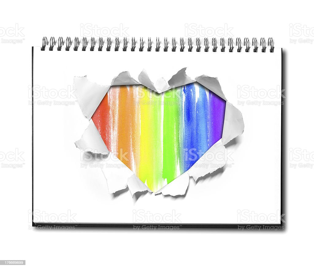 Watercolor and Heart shape on book royalty-free stock photo