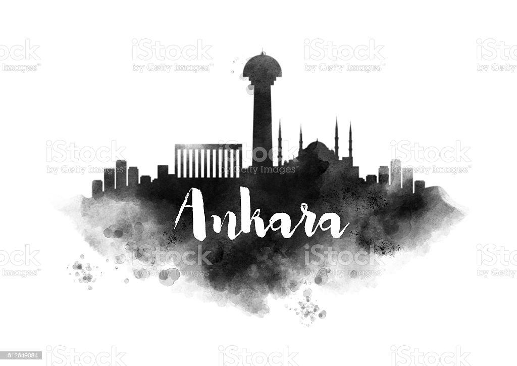 Watercolor Ankara City Skyline - foto de stock