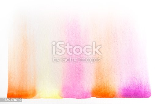 istock Watercolor art in pink, yellow, orange 1130178710