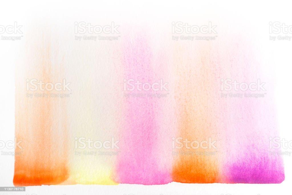 Watercolor art in pink, yellow, orange stock photo