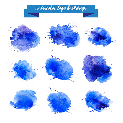 Watercolor artistic abstract paint drops collection isolated on white background. Hand drawn decor colorful elements set. Brush stroke. Ink drawing. Paint splashes. Logo backdrop design template.