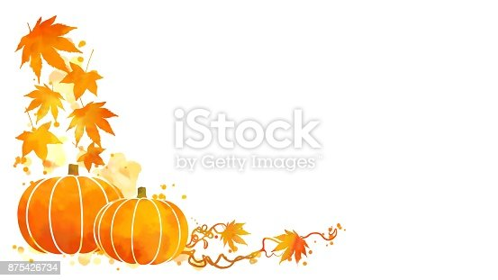 istock Watercolor autumn leaves and pumpkins 875426734