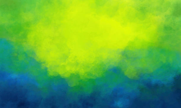 Watercolor Background - Abstract  Painting of Yellow Green Teal Blue stock photo