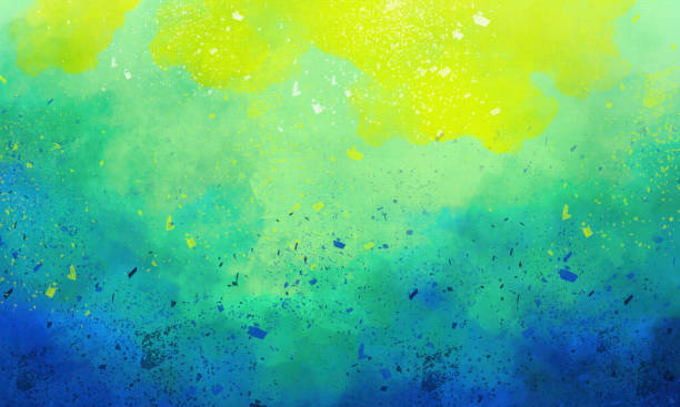 Watercolor Background - Abstract  Painting on Watercolor Paper - Paint Spatters stock photo