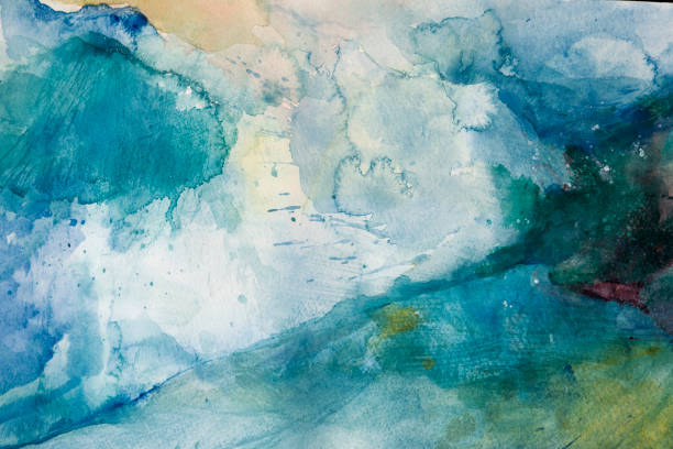 Watercolor background - abstract storm stock photo