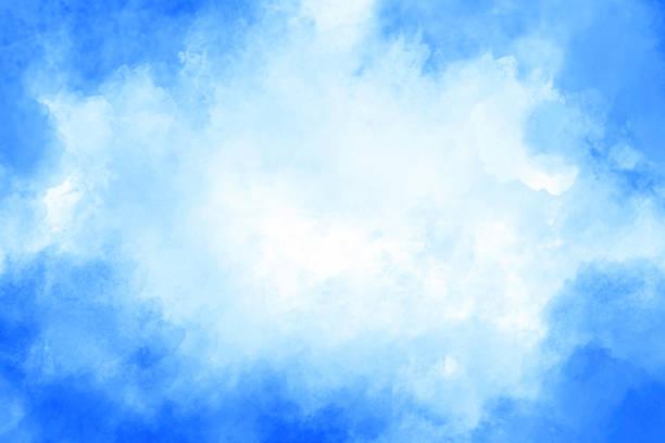 Watercolor Background - Blue Vignette - Copy Space stock photo