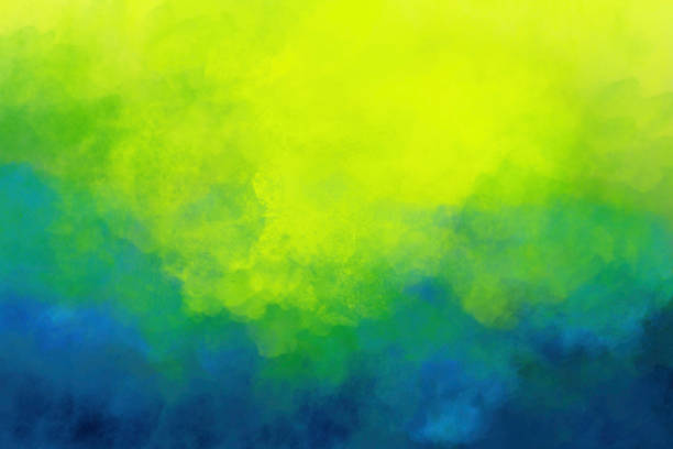 Watercolor Background Brush Strokes - Abstract Vivid Colors Yellow Green Teal Blue stock photo