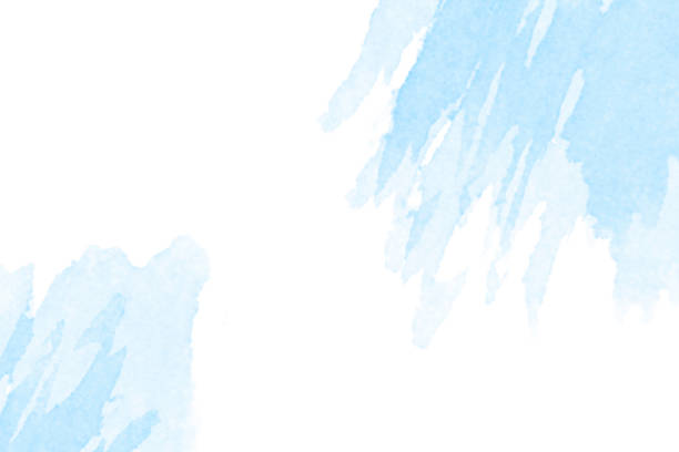 Watercolor Background - Pastel Blue - Abstract Brush Strokes stock photo