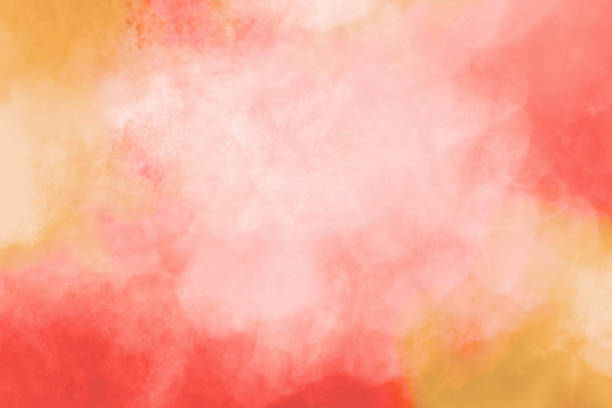 Watercolor Background - Pink Orange Red  - Pastel Colors stock photo