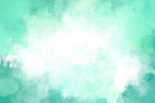 Watercolor Background - Teal - Vignette stock photo