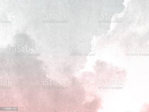 Photo of Watercolor background texture in light grey pink colors - abstract sky with clouds in soft vintage style