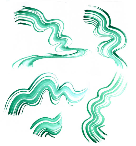 watercolor background, waves, green. texture of malachite - wave icon stock photos and pictures